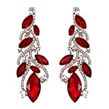EVER FAITH Austrian Crystal Party Fashion Leaf Vine Drop Chandelier Earrings Red Gold-Tone