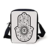 LULABE Hamsa,Blooming Traditional Lily Flowers with All Seeing Eye Floral Curls Ethnic Charm,Black White Print Kids Crossbody Messenger Bag Purse