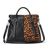 IBFUN Women Handbags Top Handle Bags Leather Purse Ladies Satchels Tote Bags, schwarz/braun (Leoprint)