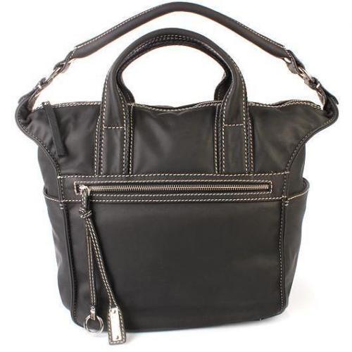 Abro Handtasche Leder Cashmere Front Zip Black