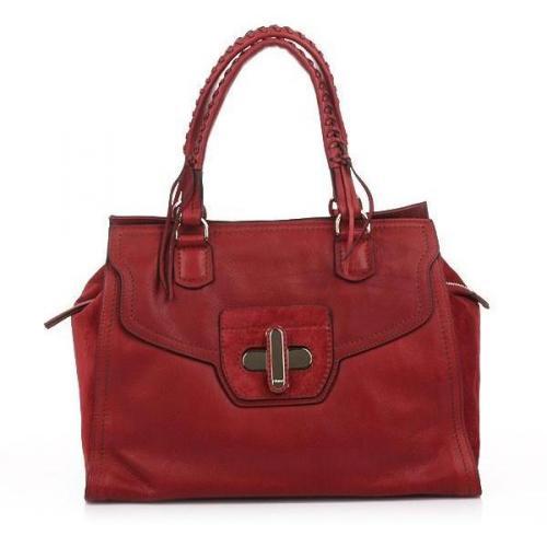 Abro Handtasche Leder Cashmere Rot mit Schnalle