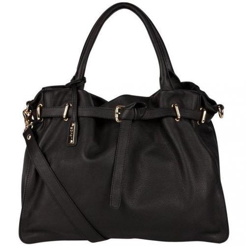 Abro Handtasche Schwarz mit Emblem Anhänger