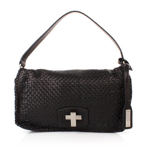 Abro Handtasche Leder Lamb Nappa Woven Black