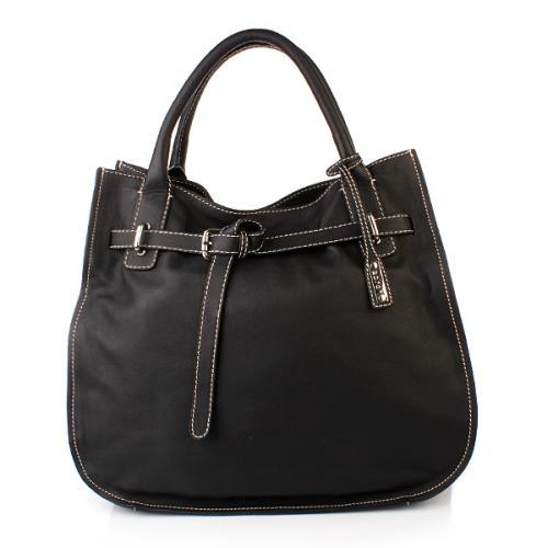 Abro Handtasche Leder Nappa Genziana Belt Black Large