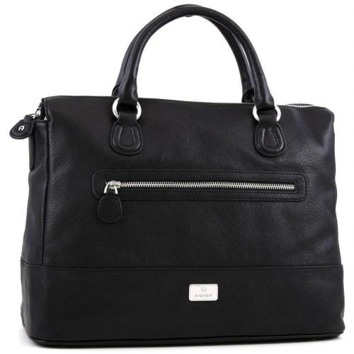 Aigner Zip Up L Shopper Leder schwarz