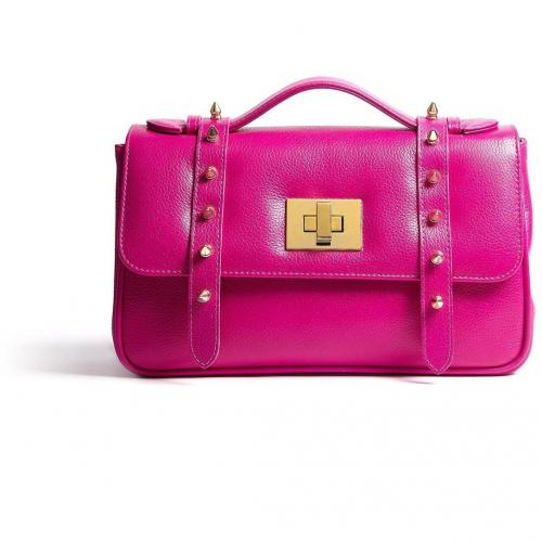 AILA Fuchsia Pink Spiky Satchel With Gold Plated Studs