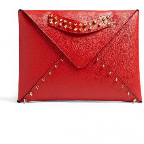 AILA Red Edgy Envelope Clutch With Gold Plated Studs