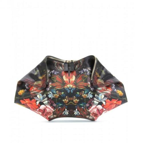 Alexander McQueen De Manta Satinclutch Mit Floralem Print Bunt