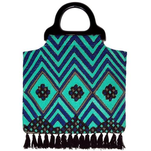 Anna Sui Electric Blue Fringed Tote