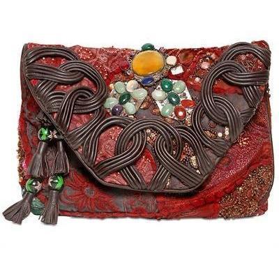 Antik Batik - Amarilo Baumwoll & Leder Börse Clutch