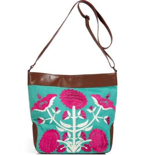 Antik Batik Leinen Tasche Aqua