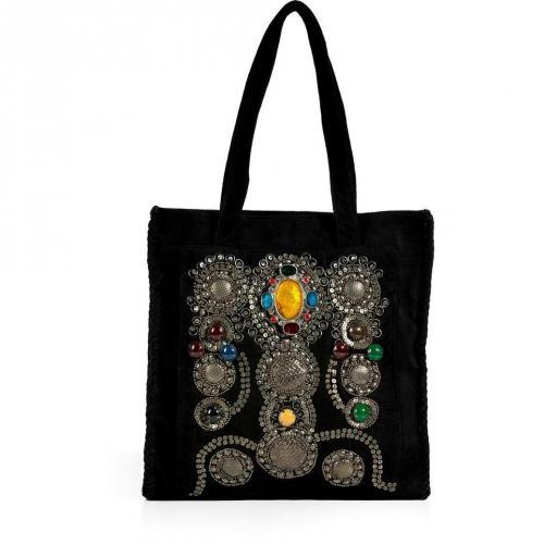 Antik Batik Black Suede Crystal Embellished Tote