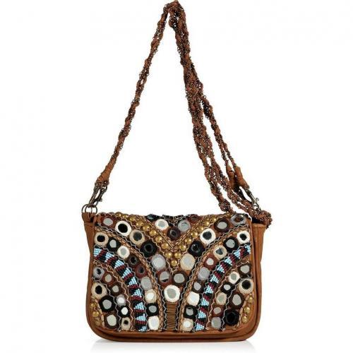 Antik Batik Camel Leather Embellished Crossbody Bag