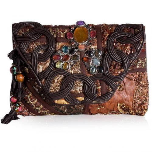 Antik Batik Rust-Multi Embroidered Patchwork Clutch