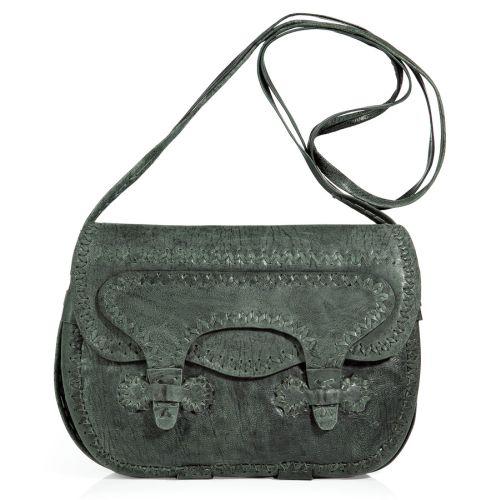 Antik Batik Antik Schwarze Stitch Embroidered Leder Tasche