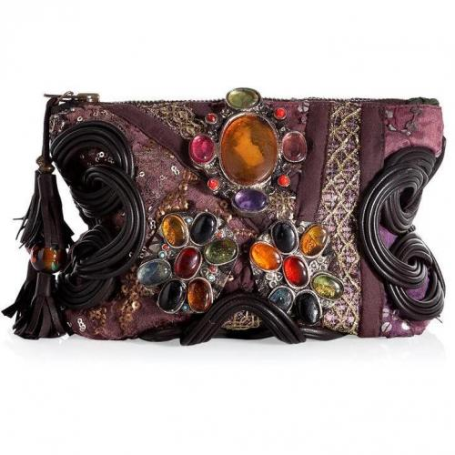 Antik Batik Taupe-Multi Embroidered Patchwork Pouch