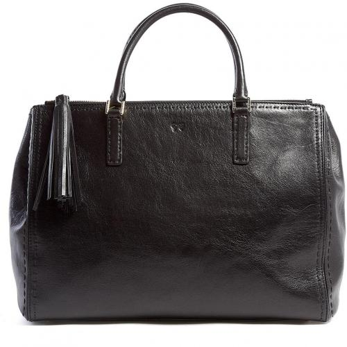 Anya Hindmarch Black High Shine Leather Pimlico Tote