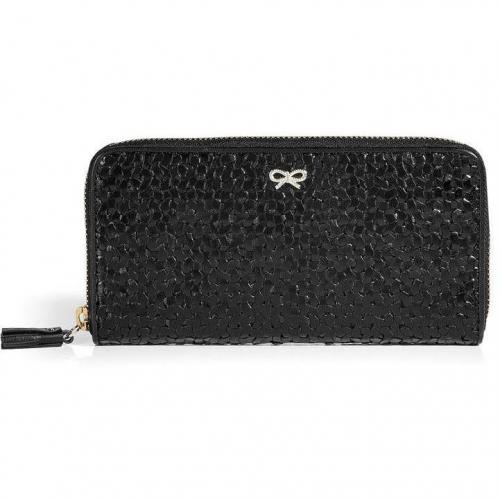 Anya Hindmarch Black Large Woven Leather Wallet