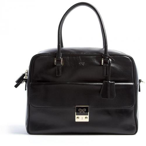 Anya Hindmarch Black Leather Carker Tote