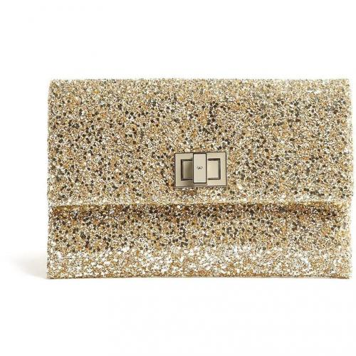 Anya Hindmarch Gold Glitter And Leather Grey Clasp Valorie Clutch