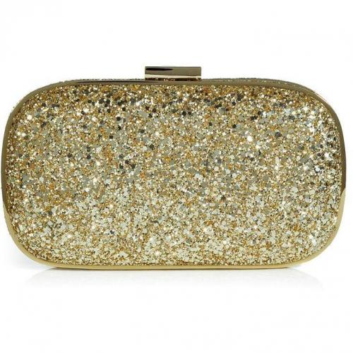 Anya Hindmarch Gold Glitter Marano Hard Shell Clutch