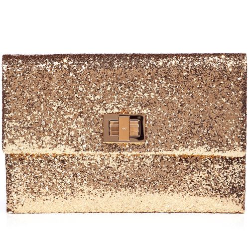 Anya Hindmarch Gold Glitter Valorie Clutch Bag