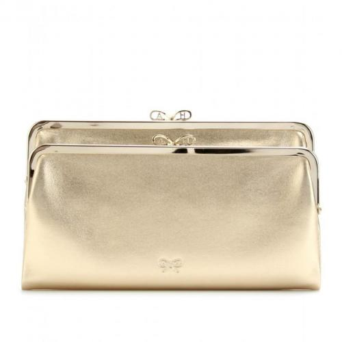 Anya Hindmarch Metallic-Clutch Aus Leder Gold