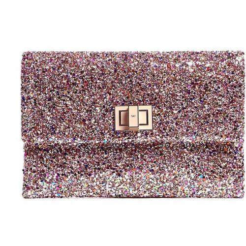 Anya Hindmarch Metallic Glitter and Leather Valorie Clutch