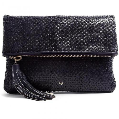 Anya Hindmarch Midnight Blue Huxley Woven Leather Clutch
