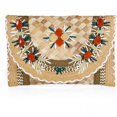 Anya Hindmarch Natural Gem Embellished Straw Clutch Ipanema