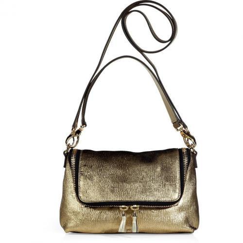 Anya Hindmarch Patina Gold Maxi Zip Cross Body Bag