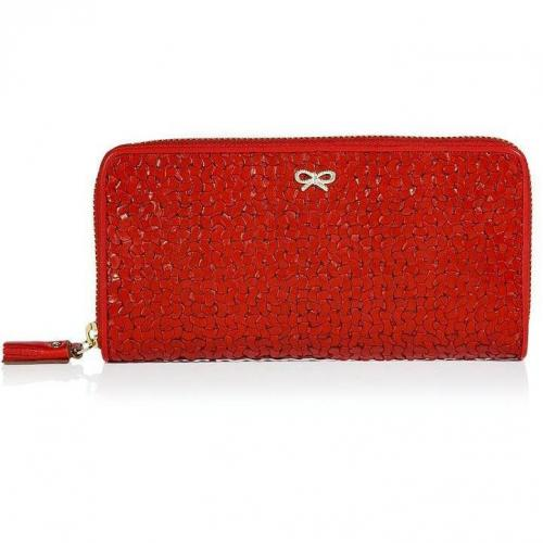 Anya Hindmarch Red Large Woven Leather Wallet