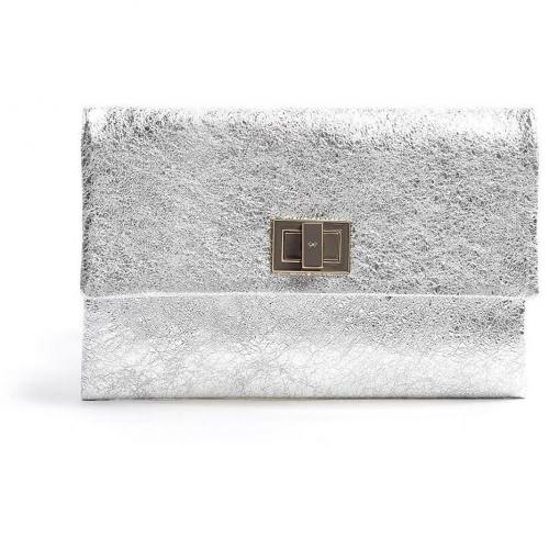 Anya Hindmarch Silver Metallic Crinkle Leather Valorie Clutch