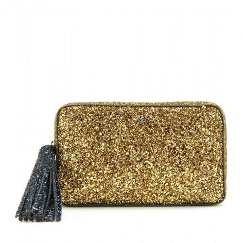 Anya Hindmarch Twinkle-Two-Tone-Glitter-Clutch Gold/Midnight