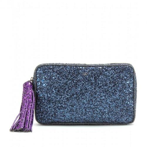 Anya Hindmarch Twinkle Two-Tone Glitter-Clutch Midnight/Plum