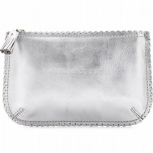 Anya Hindmarch Beauty-Bag Aus Leder Grau/Metallic