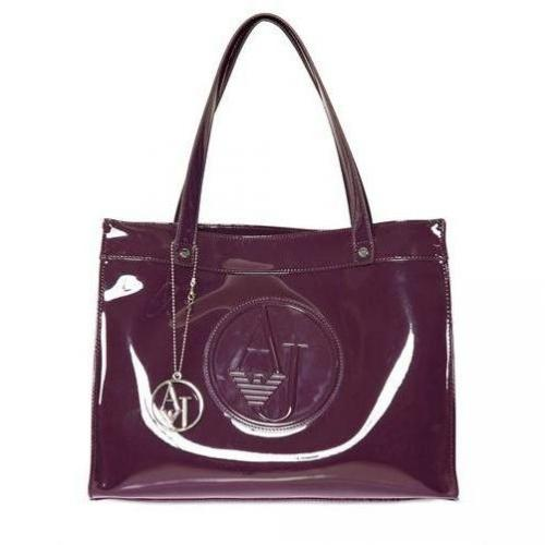 Armani Jeans - Embossed Logo Patent Tasche Violett