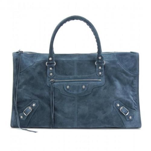 Balenciaga Classic Work Veloursledertasche Bleu Paon