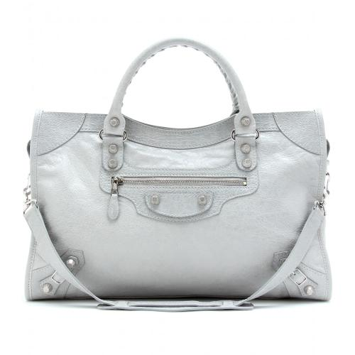 Balenciaga Giant 12 City Ledertasche Grau/Metallic