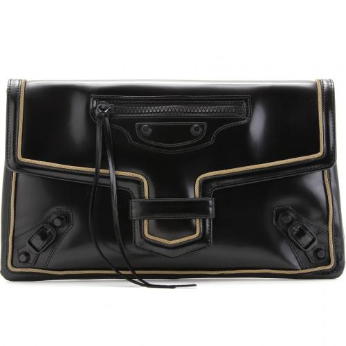Balenciaga Glaze Gold Fold-Over Clutch Schwarz