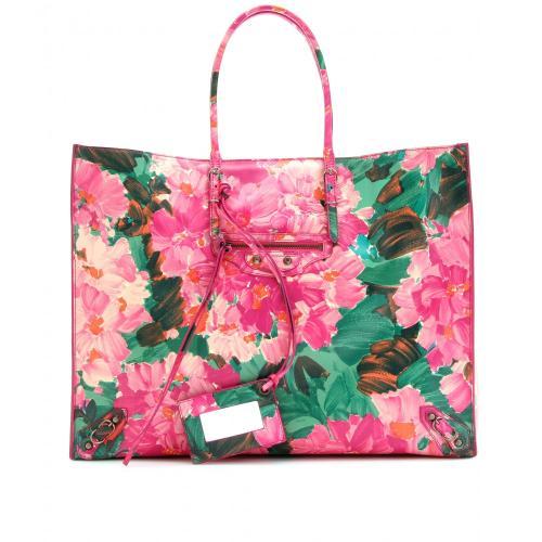 Balenciaga Ledershopper Mit Blumen Print Rosa/Violett/Lila