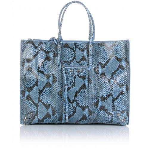 Balenciaga Tote Bag Python Papier A4 Blau