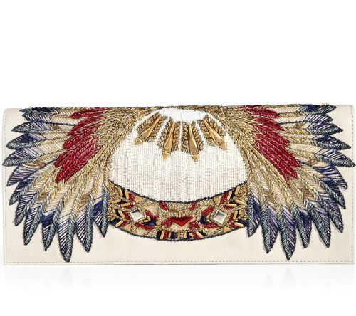 Balmain Clutch Bag Ivory Tuyet Embroidered