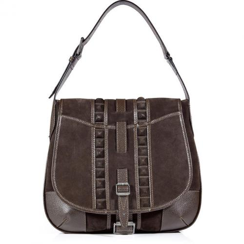 Belstaff Mahogany Suede Denton Shoulder Bag