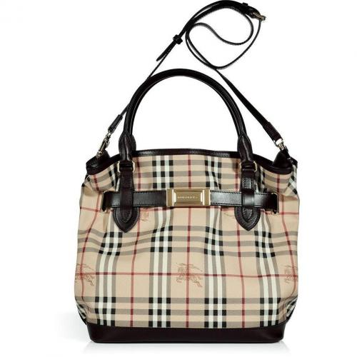 Burberry London Chocolate Haymarket Medium Golderton Tote