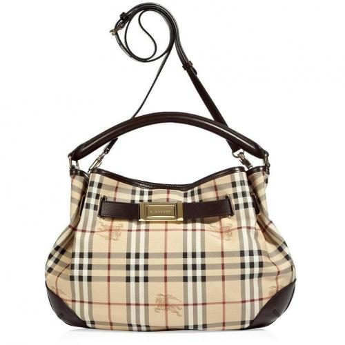Burberry London Chocolate Haymarket Willenmore Hobo Bag