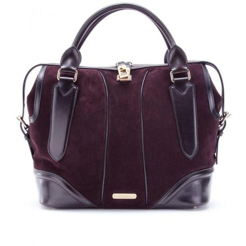 Burberry London Woolfe Henkeltasche Aus Veloursleder