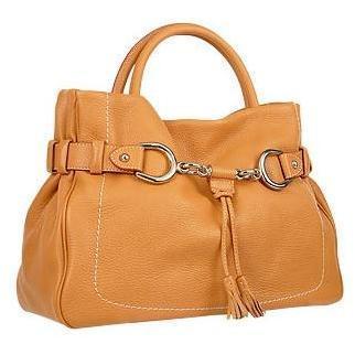 Buti Italienische Handtasche aus geprägtem Kalbsleder in kamel