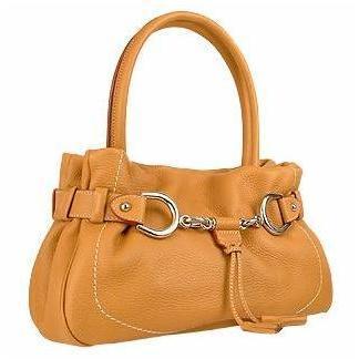 Buti Italienische Handtasche aus geprägtem Leder in kamel