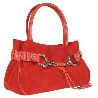 Buti Italienische Wildleder Handtasche mit Trense in rot